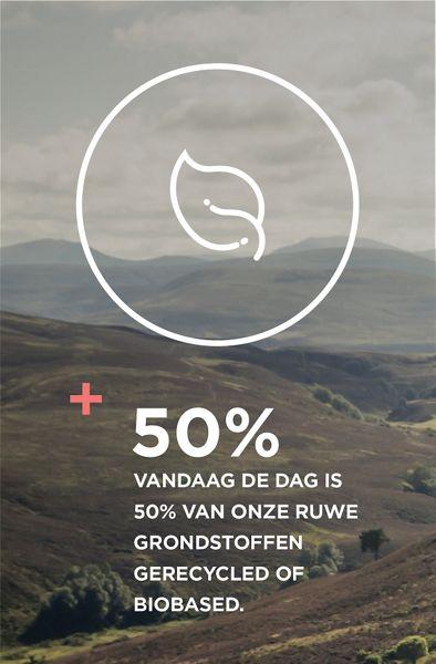 Vandaag de dag is 50% van onze ruwe grondstoffen gerecycled of biobased
