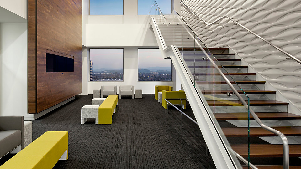<b>Location</b> Adobe in San Jose, CA &nbsp;&nbsp;<b>Product</b> Striation &nbsp;&nbsp;<b>Color</b> 100159 Anthracite &nbsp;&nbsp;<b>Architect / Design</b> Valerio Dewalt Train Associates &nbsp;&nbsp;<b>Photo</b> ©David Wakely