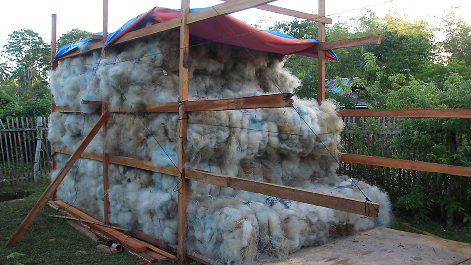Net-Works enables local residents to collect discarded nets, which wreak havoc with the marine ecosystem, and sell them back into a global supply chain.