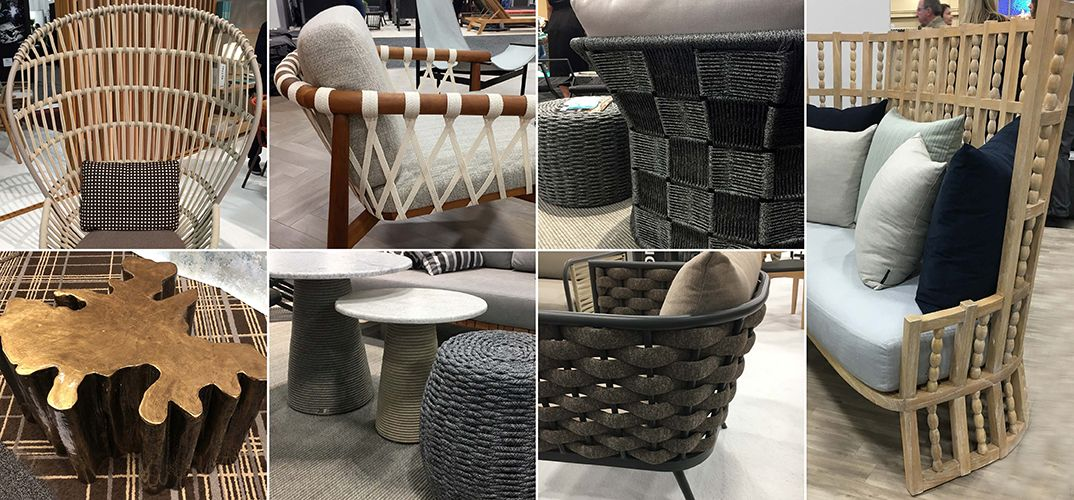 Furniture and tables with outdoor-sy finishes and textures seen at HD Expo