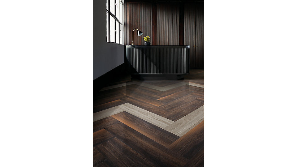 <b>Product</b> Natural Woodgrains   <b>Colors</b> A00201 Black Walnut, A00207 Washed Wheat   <b>Installed</b> Herringbone