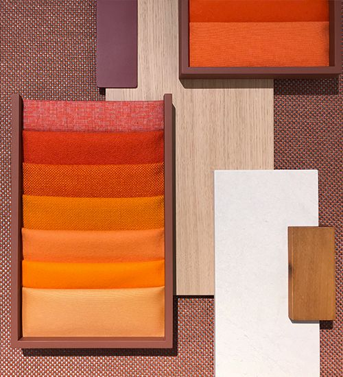Textile palette with bright oranges. Andreu World