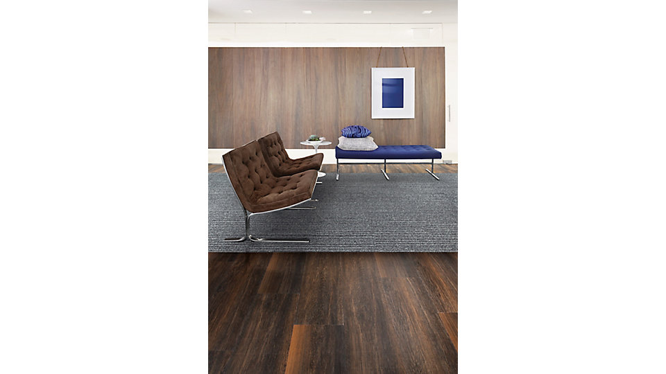 <b>LVT Product</b> Natural Woodgrains   <b>Color</b> A00201 Black Walnut   <b>Installed</b> Ashlar   <b>Collection</b> World Woven   <b>Product</b> WW865   <b>Color</b> 105369 Highland Warp   <b>Installed</b> Ashlar