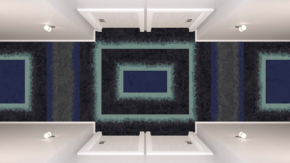 <b>Aqua to Sapphire 09</b>   <b>Collection</b> Urban Retreat   <b>Products</b> UR101, UR103   <b>Colors</b> Custom   <b>Installed</b> Pattern by Tile