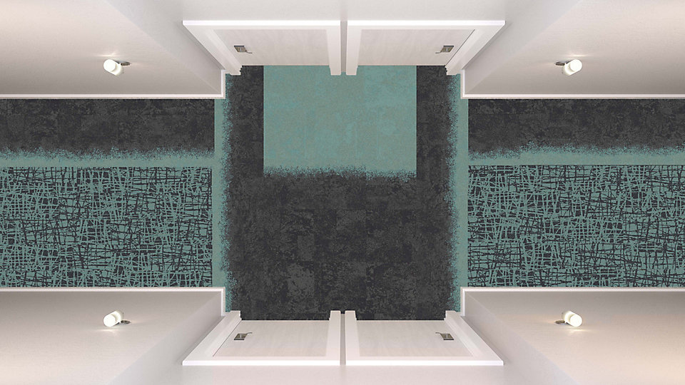 <b>Aqua to Sapphire 12</b>   <b>Collection</b> Whole Earth   <b>Product</b> WE153   <b>Colors</b> Custom   <b>Installed</b> Ashlar   <b>Collection</b> Urban Retreat   <b>Product</b> UR101, UR102   <b>Colors</b> Custom   <b>Installed</b> Pattern by Tile