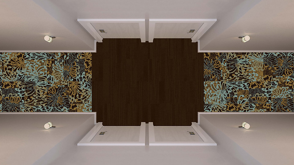 <b>Aqua to Sapphire 28</b>   <b>Collection</b> Head Over Heels   <b>Pattern </b> M1008   <b>Color</b> Custom   <b>Installed</b> Non Directional   <b>Product</b> Duo   <b>Color</b> 103867 Bark   <b>Installed</b> Pattern by Tile