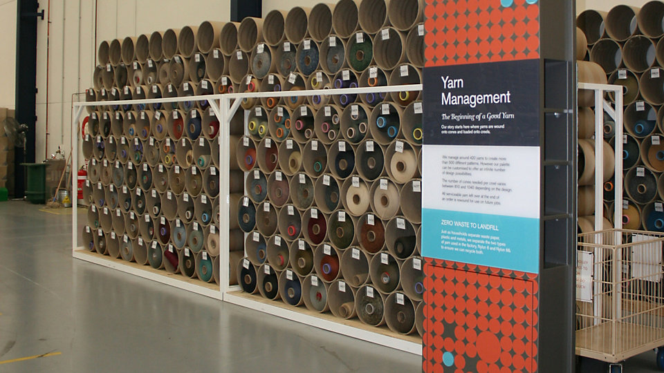 At the yarn management station visitors see cones of yarn stacked for use and learn how Interface efficiently manages yarn from purchase to recycling.