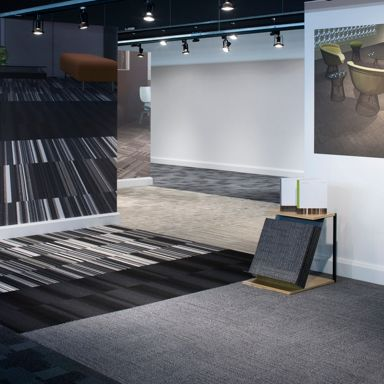 Be inspired by vignettes of Interface carpet tile with accompanying imagery.