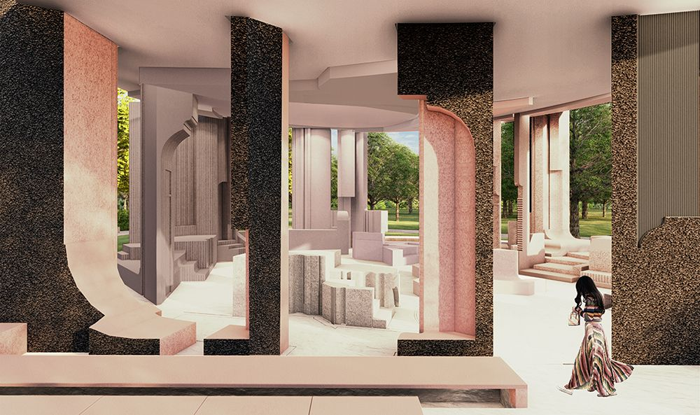 Serpentine Pavilion 2020 designed by Counterspace, Design Render, Interior View © Counterspace