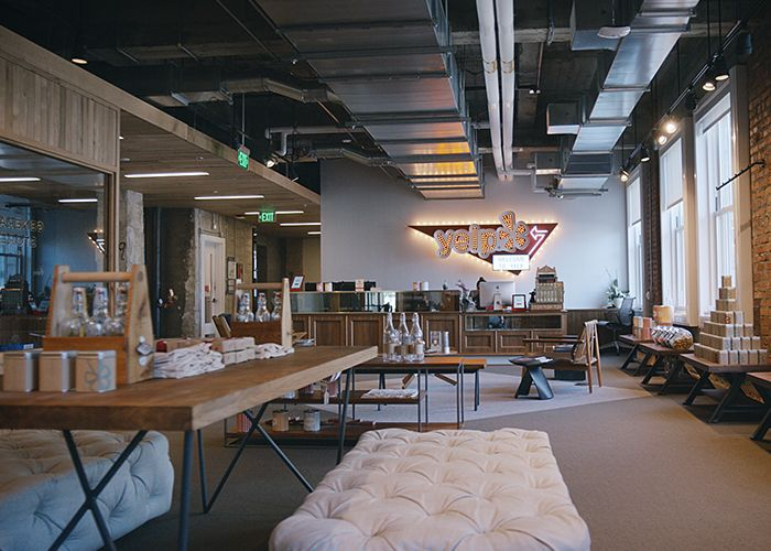 The minimal, cozy lobby space in Yelp's San Francisco HQ