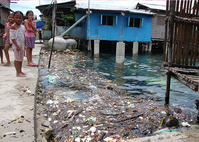 Plastic waste washing up in a community in Danajon Bank, the Philippines.