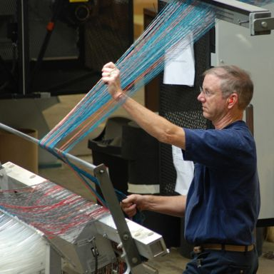 Trial materials from new design concepts, including custom requests, are produced in the pilot tufting plant.