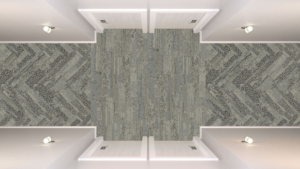 <b>Collection</b> Human Nature   <b>Product</b> HN810   <b>Color</b> 104216 Limestone   <b>Installed</b> Ashlar  <b>Product</b> HN850   <b>Color</b> 104208 Limestone   <b>Installed</b> Herringbone