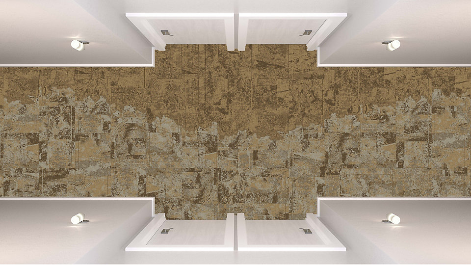 <b>Ivory to Caramel 23</b>   <b>Collection</b> Net Effect   <b>Products</b> B601, B603, B603   <b>Colors</b> Custom   <b>Installed</b> Pattern by Tile