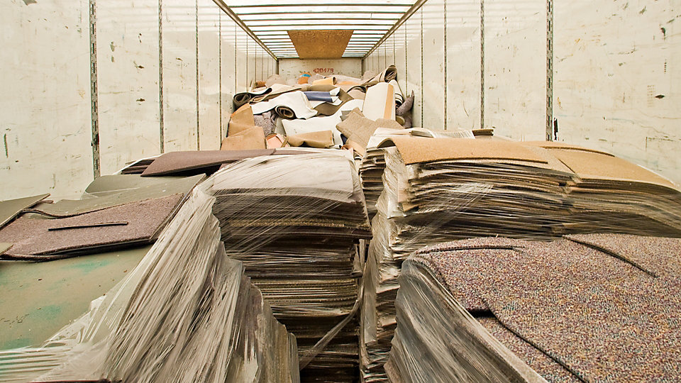 Reclaimed carpet tile is collected and delivered to our LaGrange, GA facility. Non vinyl backed carpet is processed at the closest participating facility.