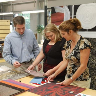 Designers work closely with manufacturing to coordinate tufted samples of custom products.