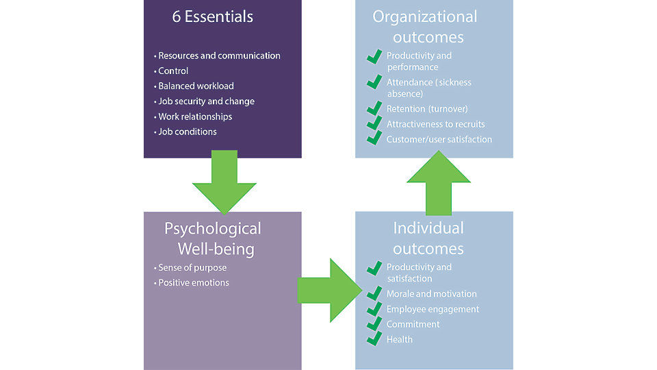 The impact of the work environment is already well established in Robertson Cooper's '6 Essentials' model, which shows the key aspects of working life that affect workplace well-being and employee engagement.