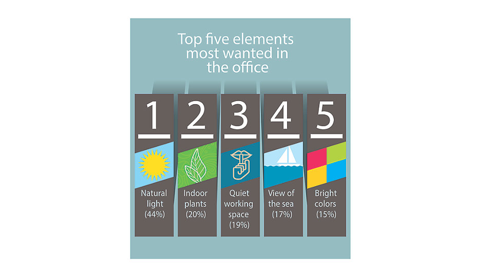 Globally, the top five most wanted elements in an office are natural light, indoor plants, quiet working spaces, a view of water and bright colors.