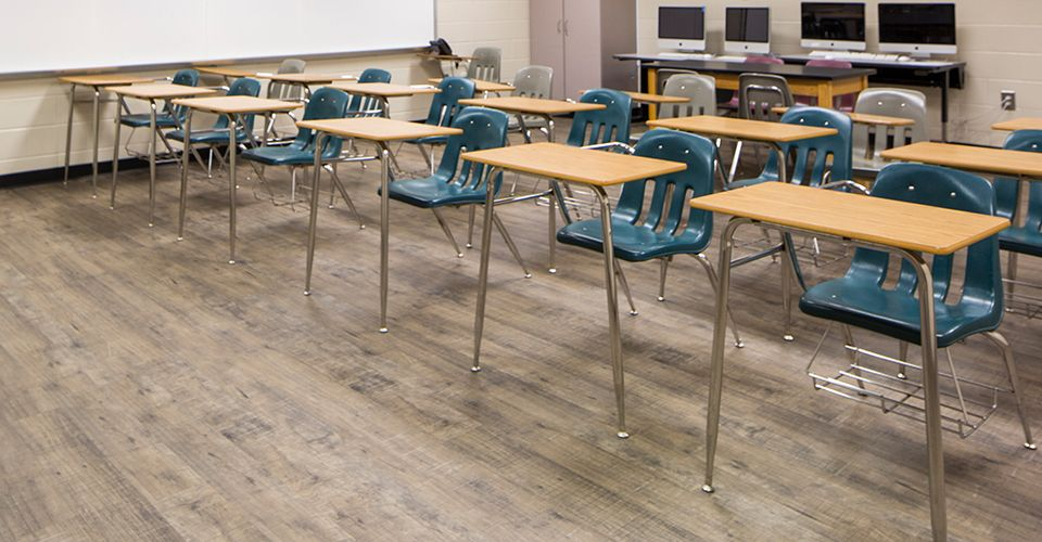 Acoustics in Schools - LVT flooring in a classroom at Dawson County High School