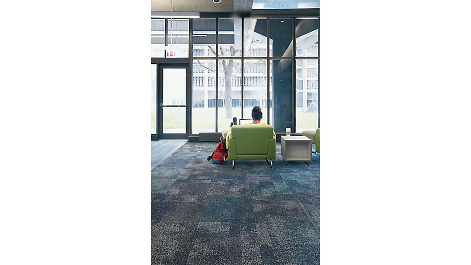 <b>CARPET   Collection</b> Honor Roll   <b>Product</b> Exposed   <b>Color</b> 106059 Pitch    <b>Installed</b> Non Directional   <b>LVT   Product</b> Studio Set   <b>Color</b> A00713 Slate   <b>Installed</b> Ashlar