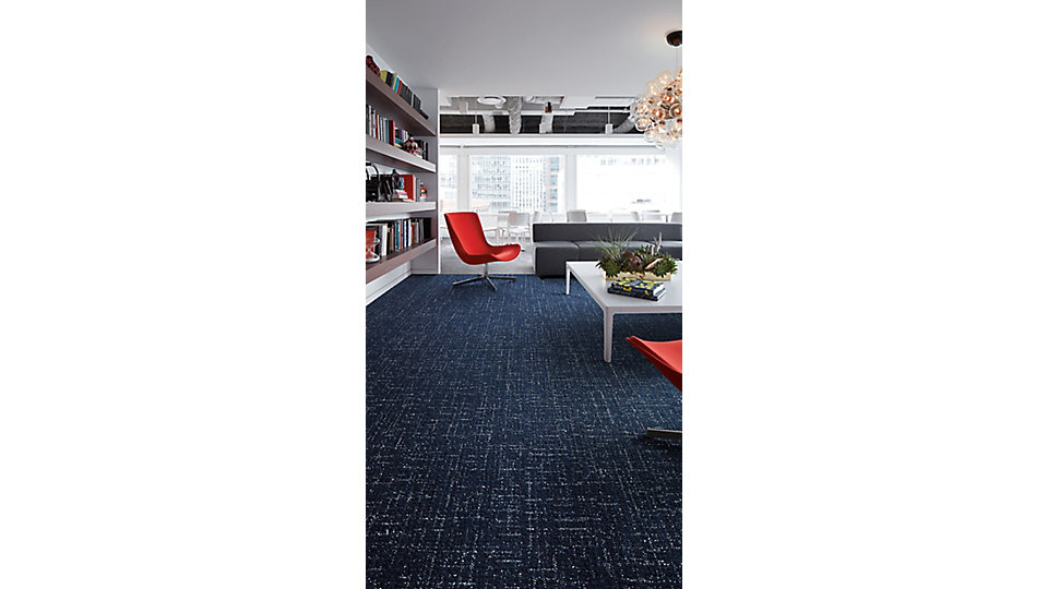 <b>CARPET   Collection</b> 5th Ave Collab    <b>Product</b> Haptic   <b>Color</b> 106460 Indigo   <b>Installed</b> Ashlar<b>    LVT   Collection</b> Level Set   <b>Product</b> Textured Stones   <b>Color</b> A00309 Medium Concrete   <b>Installed</b> Monolithic