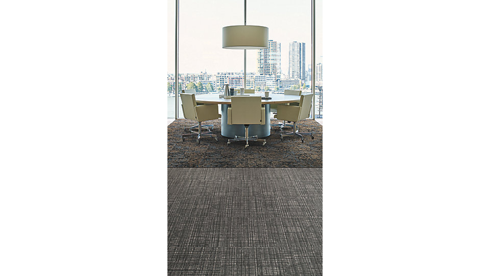<b>CARPET   Collection</b> Global Change   <b>Product</b> Raku   <b>Color</b> 105512 Evening Dusk   <b>LVT   Product</b> Native Fabric   <b>Color</b> A00808 Mulberry   <b>Installed</b> Brick