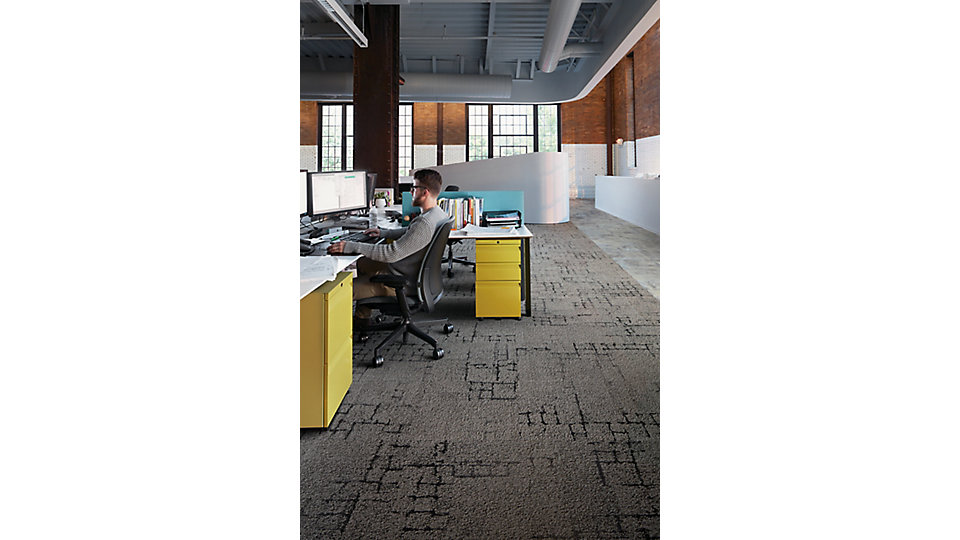 <b>CARPET   Collection</b> Human Connections   <b>Product</b> Kerbstone   <b>Color</b> 105574 Flint   <b>LVT   Collection</b> Level Set   <b>Product</b> Textured Stones   <b>Color</b> A00302 Cool Polished Cement   <b>Installed</b> Non Directional