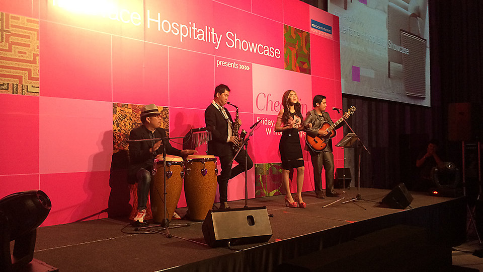 Band playing at the Interface Hospitality launch at W Bangkok hotel.