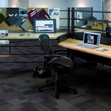 The office furniture was created by a local craftsman and works well with the industrial feel of the former warehouse.