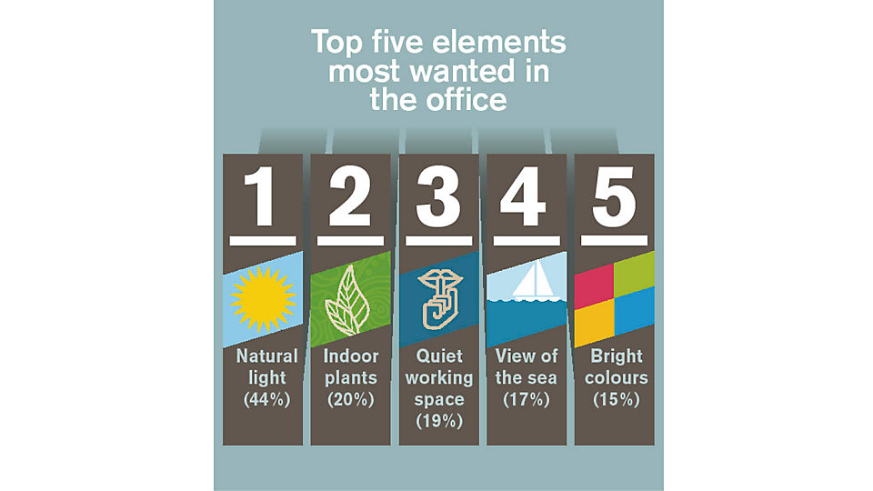 Globally, the top five most wanted elements in an office are natural light, indoor plants, quiet working spaces, a view of water and bright colours.