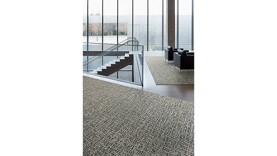 <b>Collection</b> World Woven &nbsp;&nbsp;<b>Product</b> WW890 &nbsp;&nbsp;<b>Colour</b> 105383 Linen Dobby &nbsp;&nbsp;<b>Installed</b> Ashlar &nbsp;&nbsp;<b>FLOR Product</b> Mod Café &nbsp;&nbsp;<b>Colour</b> Star Charcoal &nbsp;&nbsp;<b>Installed</b> Quarter-Turn