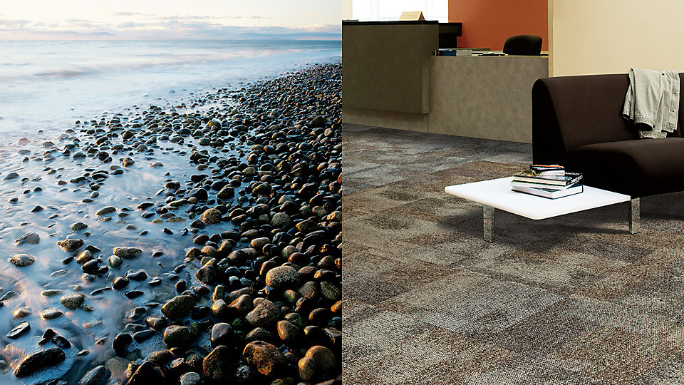 The design of our i2 styles mimics the imperfect beauty of nature in that the tiles, like the rocks on the left, are slightly different in color and pattern from one to the other.