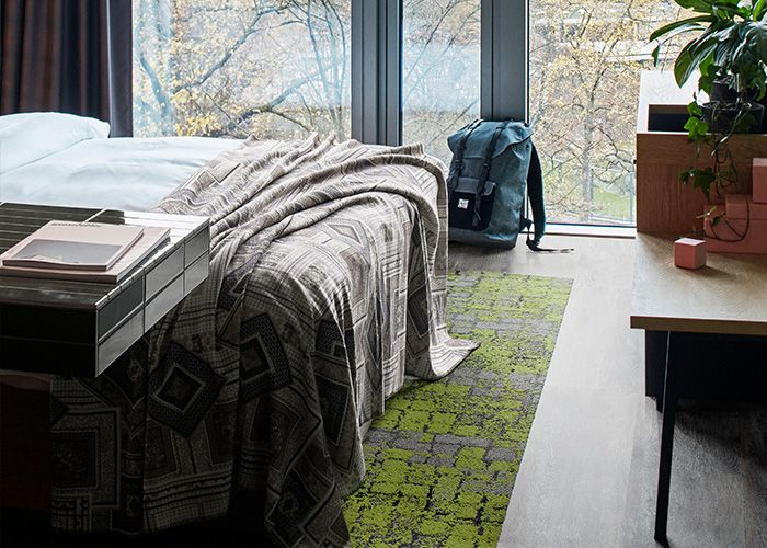Adding character to the room with greens to complement the natural light. Products: Level Set – Grey Dune, Human Connections – Moss, Flint Moss