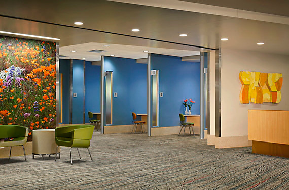 modular carpet tile in healthcare setting