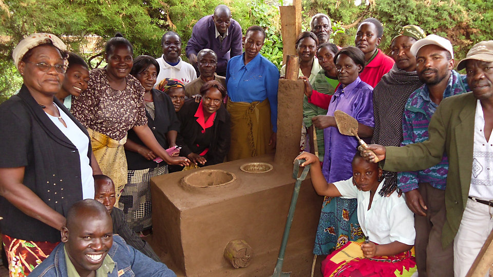 Members are trained to build improved, fuel-efficient stoves out of locally available materials that can be obtained free or for minimal cost.