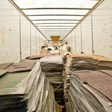 Reclaimed carpet is shipped to our Kyle III facility.