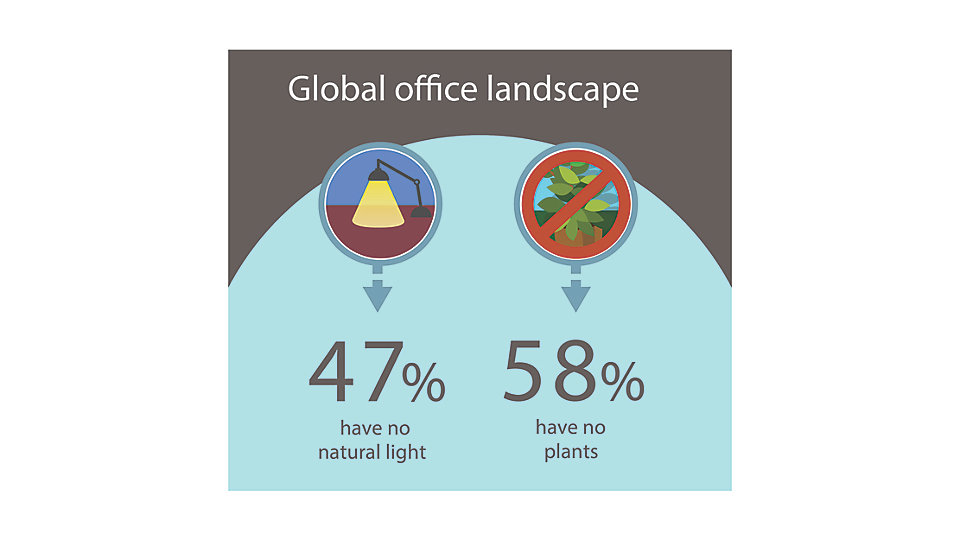 Given its positive impact, surprisingly large numbers of employees reported having little or no contact with nature in their workplace